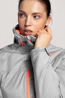 Kurtka narciarska damska KUDN301 - chłodny jasny szary melanż