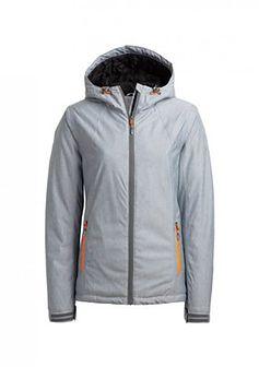 Kurtka narciarska damska KUDN600A - chłodny jasny szary melanż
