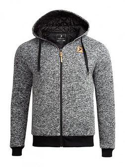 Sweter męski SWM603 - ciepły jasny szary  melanż