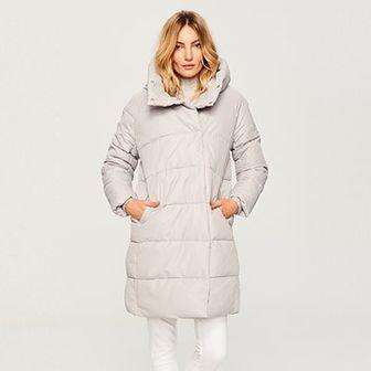 Reserved - Pikowany płaszcz ze stójką - Jasny szar