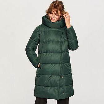 Reserved - Pikowany płaszcz ze stójką - Turkusowy