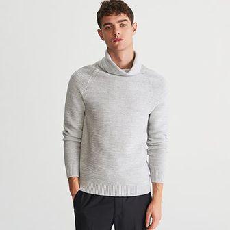 Reserved - Sweter z bawełny organicznej - Jasny szar