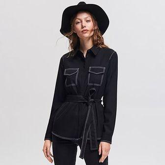 Reserved - Koszula z kontrastowymi wykończeniami - Czarny