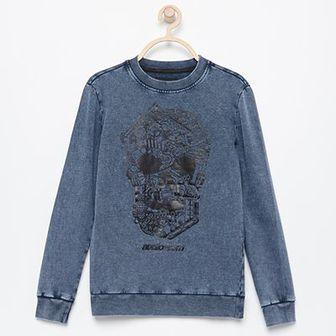 Reserved - Bluza ze spranej bawełny - Niebieski