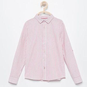 Reserved - Prążkowana koszula z podwijanymi rękawami - Czerwony