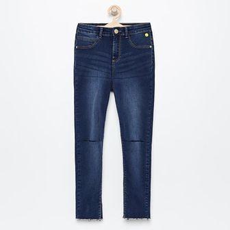 Reserved - Jeansy z dziurami na kolanach - Granatowy