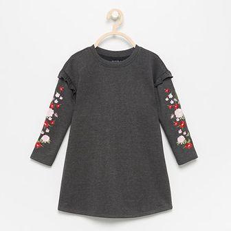 Reserved - Dresowa sukienka z haftem - Szary