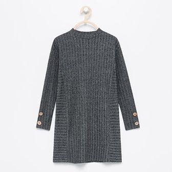 Reserved - Dzianinowa sukienka z długim rękawem - Szary