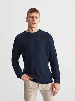 Reserved - Sweter ze strukturalnej dzianiny - Granatowy