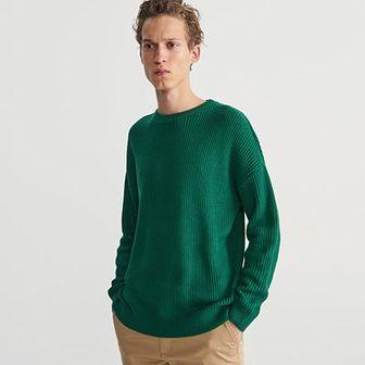 Reserved - Sweter ze strukturalnej dzianiny - Zielony