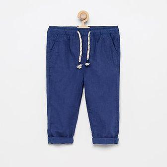 Reserved - Spodnie z lnem - Granatowy