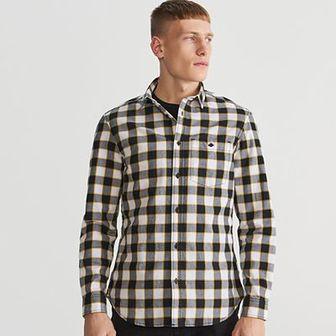 Reserved - Koszula regular fit w kratę - Żółty