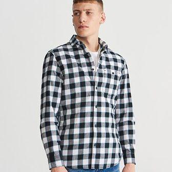Reserved - Koszula regular fit w kratę - Czarny