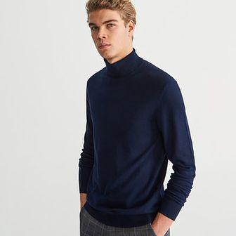 Reserved - Gładki sweter z golfem - Granatowy