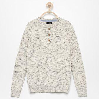 Reserved - Sweter z małym haftem - Szary