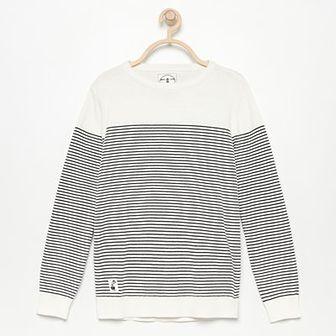 Reserved - Bawełniany sweter w paski - Kremowy