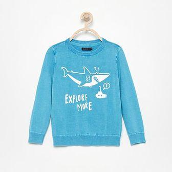 Reserved - Bawełniany sweter z nadrukiem - Turkusowy