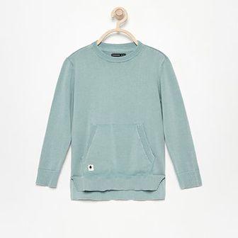 Reserved - Sweter z kieszenią kangurką - Turkusowy