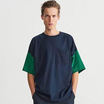 Reserved - T-shirt z szerokimi rękawami - Granatowy