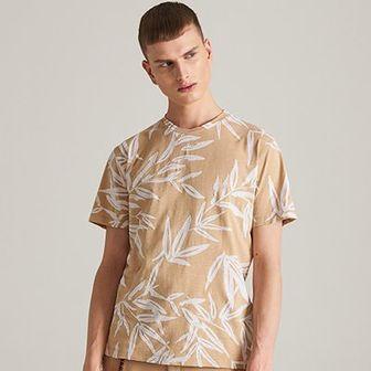 Reserved - T-shirt z motywem roślinnym - Żółty