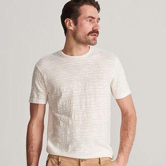 Reserved - T-shirt ze strukturalnej dzianiny - Kremowy
