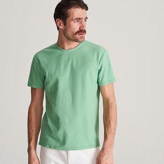 Reserved - T-shirt ze strukturalnej dzianiny - Zielony