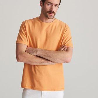 Reserved - T-shirt ze strukturalnej dzianiny - Pomarańczowy