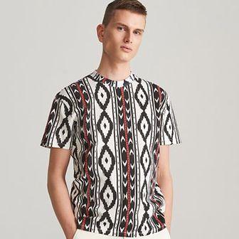 Reserved - Wzorzysty T-shirt - Kremowy