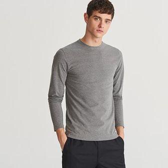 Reserved - Gładka koszulka z długim rękawem - Szary