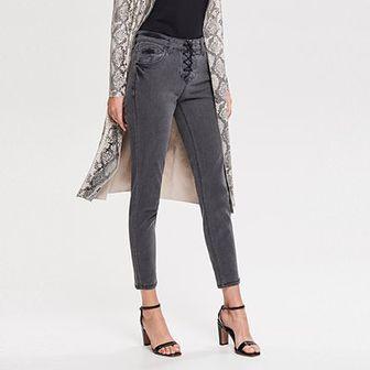 Reserved - Spodnie z wiązaniem - Jasny szar