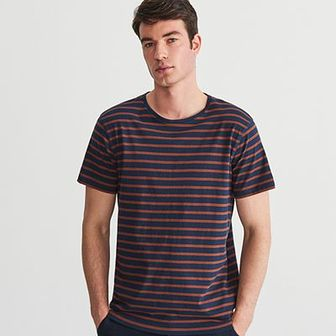 Reserved - T-shirt w paski - Granatowy