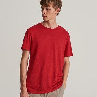 Reserved - T-shirt z lnu - Czerwony