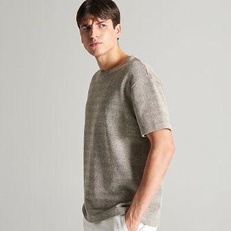 Reserved - T-shirt ze strukturalnej dzianiny - Beżowy