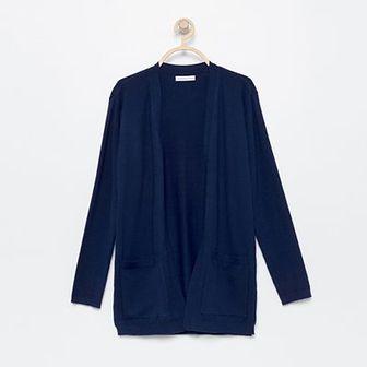 Reserved - Długi sweter z kieszeniami - Granatowy