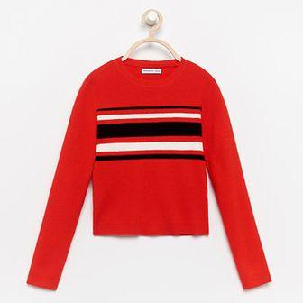 Reserved - Sweter w pasy - Czerwony