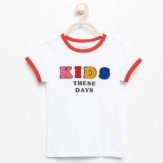 Reserved - T-shirt z aplikacją - Biały