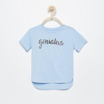 Reserved - T-shirt z brokatowym napisem - Niebieski