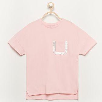 Reserved - T-shirt z kieszonką - Różowy
