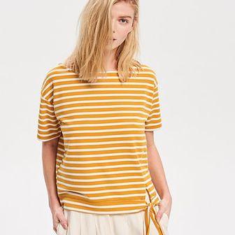 Reserved - Prążkowana bluzka z wiązaniem - Wielobarwn