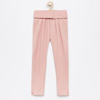 Reserved - Spodnie z wywijaną talią - Różowy