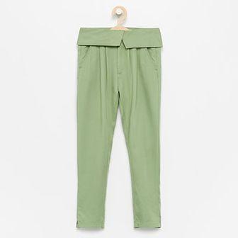 Reserved - Spodnie z wywijaną talią - Khaki