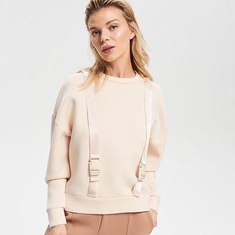 Reserved - Piankowa bluza z szelkami - Kremowy
