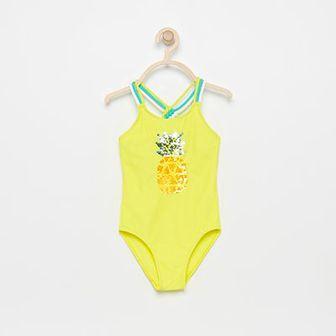 Reserved - Jednoczęściowy strój kąpielowy z magicznymi cekinami - Żółty