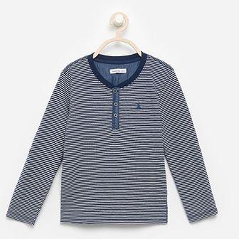 Reserved - Koszulka z podwijanymi rękawami - Granatowy