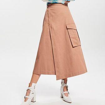 Reserved - Asymetryczna spódnica z kieszenią - Beżowy