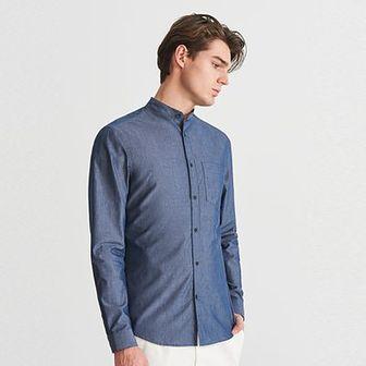 Reserved - Jeansowa koszula ze stójką - Niebieski