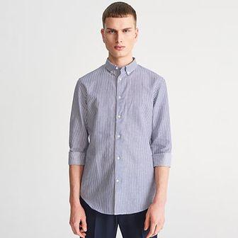 Reserved - Koszula slim fit w wąskie paski - Niebieski
