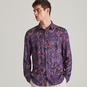 Reserved - Wzorzysta koszula z wiskozy - Fioletowy