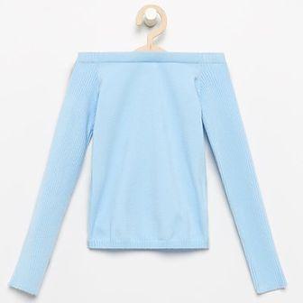 Reserved - Sweter z odsłoniętymi ramionami - Niebieski