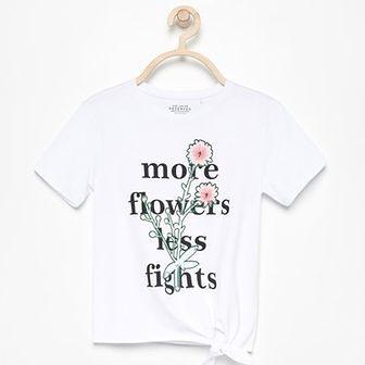 Reserved - T-shirt z wiązaniem na dole - Biały